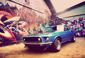 classic, Ford, v8, дома, 1969, muscle car, графити, mustang