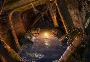 spider, light, Locations for games, bogdan maistrenko, masterbo, pirates, ship, candle