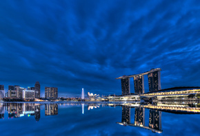 gardens by the bay, night, blue sky, bay, Singapore, lights, skyscrapers, architecture, clouds