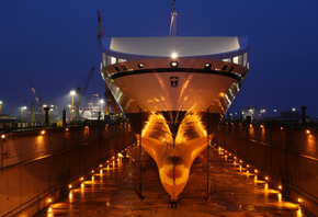 Bore sea, порт, ship, док, anchores, lights, dry dock, ночь, судно
