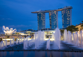 blue, Singapore, fountains, gardens by the bay, skyscrapers, night, architecture, sky, lights