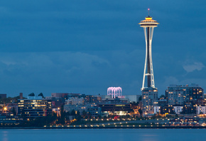 city, bay, seattle, lights, space needle, вашингтон, washington, Usa, evening, сша