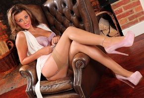Becki Haddick, stockings, feet, shoes, chair, girls