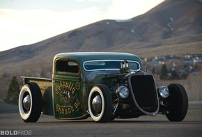 pickup, Ford, 1935, rat rod, v8