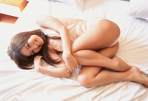 kiguchi, aya, japanese, asian, model, brunette, bed, lingerie, cute, smile, woman, sexy, hot, panties