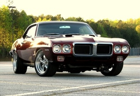 sunset, firebird, фаербёрд, muscle car, понтиак, 1969, Pontiac, dark red