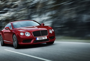 Автомобиль, Bentley-Continental, красный, дорога, природа