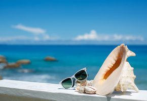 summer, vacation, beach, accessories, glasses, sun, shells, blue sky, sea