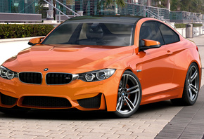 BMW, M4, Coupe, F82, Orange, by dangeruss, 3D Studio MAX, Vray, Photoshop, бмв, оранжевая