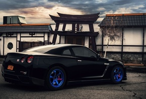 nissan, r35, gt-r, blue wheels, зад