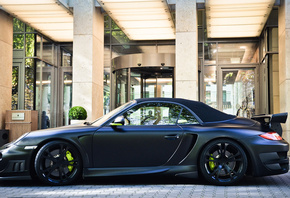 black, gt, cabriolet, porsche, techart, 997, building, matt, 911