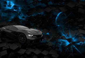 car, space, planet, blue, black, square, rendering, background