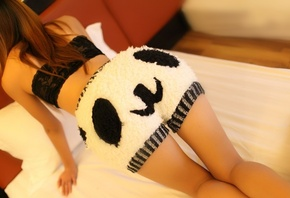 Beauty, photo, bed, boo, shorts, panda