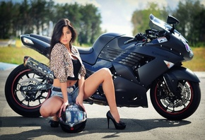 Girl, Beautiful, Motocycle, Kawasaki, ZZR, 1400CC
