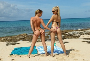 blue angels, angel and franziska, lesbians, beach, oiled, ocean, sand