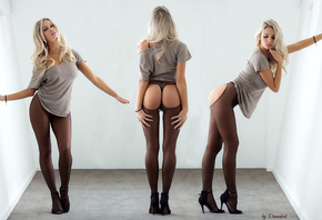 Devin Justine, blonde, back, waist, cancer, ass, breasts, tights, wall, posing, combining, блондинка, спина, талия, колготы
