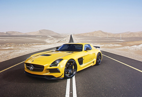 Mercedes-Benz, AMG, SLS, Black Edition, Supercar, Yellow, Road, Desert, Sky