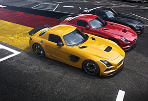 Mercedes-Benz, SLS, AMG, Black Edition, Supercar, Yellow, Red, Black, German, Flag, Widescreen, Asphalt
