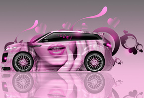 Tony Kokhan, Land Rover, Evoque, Glamour, Girl, Side, Aerography, Pink, Sof ...