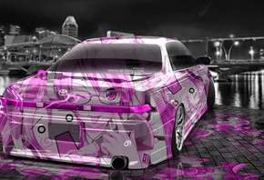 Tony Kokhan, Toyota, Mark2, JZX90, JDM, Anime, Aerography, City, Pink, Neon ...