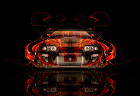 Tony Kokhan, Toyota, Supra, Fire, Car, Tuning, JDM, Orange, Black, Abstract ...