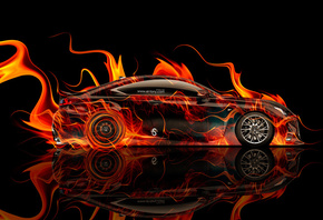 Tony Kokhan, Lexus, RC-F, Fire, Car, Side, el Tony Cars, Photoshop, Abstrac ...