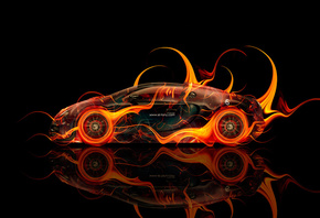 Tony Kokhan, Bugatti, Veyron, Fire, Car, Side, Abstract, Orange, el Tony Ca ...