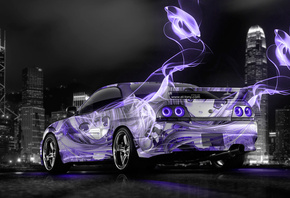 Tony Kokhan, Nissan, Skyline, GTR, R33, JDM, Anime, Girl, Aerography, City, Violet, Neon, Colors, Energy, el Tony Cars, Photoshop, Design, HD Wallpapers, Тони Кохан, Фотошоп, Ниссан, Скайлайн, ГТР, Р33, Фиолетовый, Неон, Аниме, Анимэ, Аэрография, Город, Н