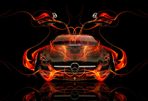 Tony Kokhan, Mercedes-Benz, SLS, AMG, Fire, Car, Open, Doors, Black, Orange ...