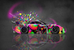 Tony Kokhan, Mazda, RX7, JDM, VeilSide, Tuning, Multicolors, Pink, Neon, Ar ...