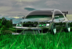 Tony Kokhan, Mitsubishi, Lancer, Evolution, Crystal, Nature, Green, Grass,  ...