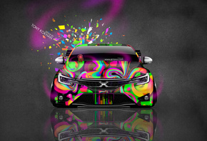 Tony Kokhan, Toyota, Mark, X, JDM, Tuning, Abstract, Aerography, Domo Kun, Toy, Car, Pink, Neon, Multicolors, Front, el Tony Cars, Photoshop, HD Wallpapers, Design, Art, Тони Кохан, Фотошоп, Тойота, Марк, Х, Икс, Вид Спереди, ДжэДэЭм, Домо Кун, Разноцветн