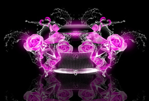 Tony Kokhan, Lexus, LF-LC, Fantasy, Flowers, Rose, Pink, Neon, Colors, Wate ...