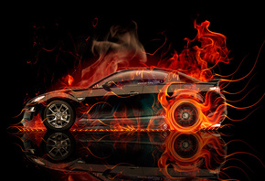 Tony Kokhan, Mazda, RX8, JDM, Side, Fire, Car, Abstract, Orange, Black, Fla ...
