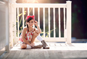 Summer Light, styled, bandana, boots, fashion, floral, девочка, крыльцо