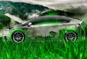 Tony Kokhan, Toyota, Prius, Side, Crystal, Nature, Car, Green, Grass, Hybri ...