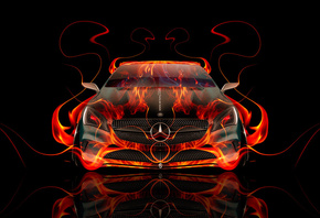 Tony Kokhan, Mercedes-Benz, Front, Fire, Abstract, Car, Flame, Orange, Blac ...