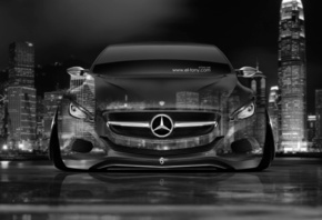 Tony Kokhan, Mercedes-Benz, F800, Front, Crystal, City, Car, Silver, Gray,  ...