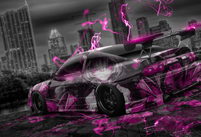 Tony Kokhan, Nissan, 180SX, JDM, Tuning, Anime, Aerography, City, Car, Pink, Neon, Effects, Night, el Tony Cars, Photoshop, Design, Art, HD Wallpapers, Style, Тони Кохан, Фотошоп, Ниссан, 180СХ, ДжэДэЭм, Аниме, Анимэ, Розовый, Цвет, Розовая, Машина, Аэрог