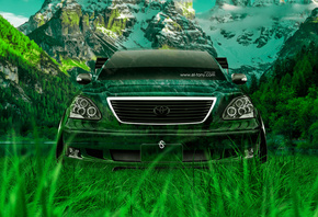 Tony Kokhan, Toyota, Celsior, JDM, Tuning, Front, Crystal, Nature, Car, Gre ...