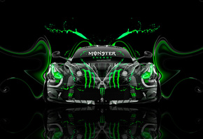 Tony Kokhan, Ferrari, Laferrari, Monster Energy, Front, Super, Plastic, Acid, Drink, Car, Aerography, Green, Neon, Effects, Hybrid, el Tony Cars, Photoshop, HD Wallpapers, Design, Art, Style, Тони Кохан, Фотошоп, Стиль, Монстер Энерджи, Феррари, Лаферрари