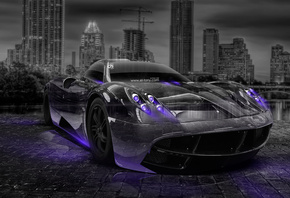 Tony Kokhan, Pagani, Huayra, Crystal, City, Car, Violet, Neon, Night, el To ...
