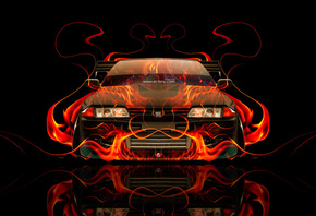 Tony Kokhan, Nissan, Skyline, GTR, R32, JDM, Fire, Car, Abstract, Orange, F ...