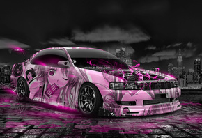 Tony Kokhan, Toyota, Chaser, JZX90, JDM, Anime, Girl, Aerography, City, Jap ...