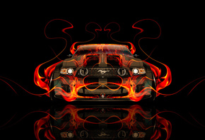 Tony Kokhan, Ford, Mustang, GT, Front, Fire, Car, Tuning, Orange, Flame, Muscle, Black, Abstract, el Tony Cars, Photoshop, HD Wallpapers, Design, Art, Style, American, USA, Тони Кохан, Фотошоп, Форд, Мустанг, ГТ, Тюнинг, Масл Кар, Мускул, Огонь, Огненная,