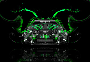 Tony Kokhan, Monster Energy, Logo, Ford, Mustang, GT, Muscle, Car, Front, Green, Aerography, Tuning, Acid, Drink, Black, el Tony Cars, Photoshop, Design, Art, Style, HD Wallpapers, Тони Кохан, Фотошоп, Форд, Мустанг, ГТ, Монстер Энерджи, Вид Спереди, Масл