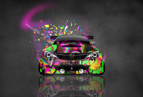 Tony Kokhan, Subaru, Impreza, WRX, STI, JDM, Front, Domo Kun, Abstract, Aerography, Car, Tuning, Pink, Neon, el Tony Cars, HD Wallpapers, Design, Art, Style, Photoshop, Auto, Тони Кохан, Фотошоп, Субару, Импреза, ВРХ, СТИ, Вид Спереди, Абстракт, Аэрографи