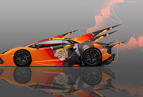 Tony Kokhan, Lamborghini, Aventador, Side, Anime, Naruto, Aerography, Car, Orange, Neon, Effects, 4K, Wallpapers, el Tony Cars, Design, Art, Style, Auto, Photoshop, Тони Кохан, Фотошоп, Ламборгини, Авентадор, Вид Сбоку, Аэрография, Аниме, Анимэ, Наруто, О