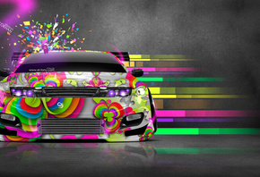 Tony Kokhan, Nissan, Fairlady, 300ZX, JDM, Domo Kun, Toy, Car, Abstract, Aerography, eQ, Front, Japan, Auto, Multicolors, Pink, Neon, Tuning, el Tony Cars, Photoshop, Design, Art, Style, HD Wallpapers, Тони Кохан, Фотошоп, Ниссан, Файлреди, Прекрасная, Ле