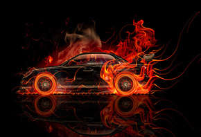 Tony Kokhan, Subaru, Impreza, WRX, STI, JDM, Fire, Car, Abstract, Orange, Flame, Black, Tuning, el Tony Cars, Design, Art, Style, Japan, HD Wallpapers, Auto, Photoshop, Тони Кохан, Фотошоп, Субару, Импреза, ВРХ, СТИ, Вид Сбоку, Тюнинг, Огненная, Машина, О